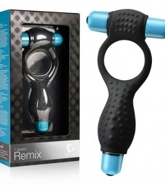 Remix - double vibratory penis ring (black and blue)