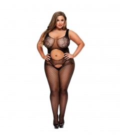 Baci - Open Front Crotchless Jacquard Bodystocking Queen Size