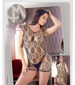 Mandy Mystery - Hole-Mesh Short Sleeve Fishnet with Tangle (Black)