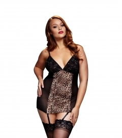 BACI - LEOPARD BASQUE & GARTER STAYS NO PANTY QUEEN SIZE